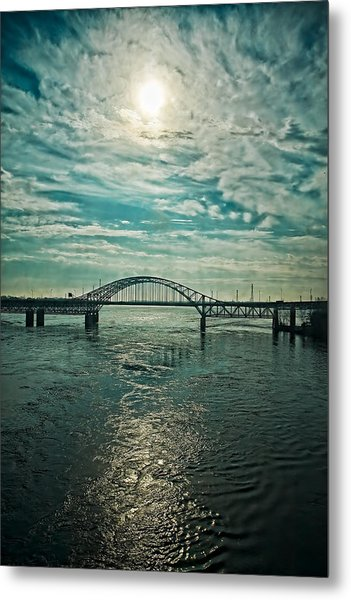 Traffic On The Bridge Metal Print by Michel Filion