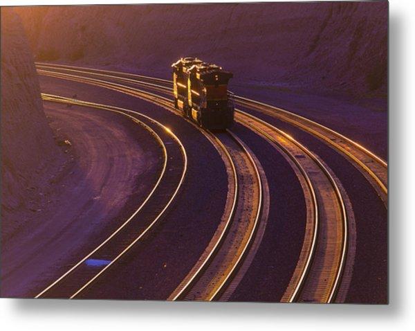 Train At Sunset Metal Print