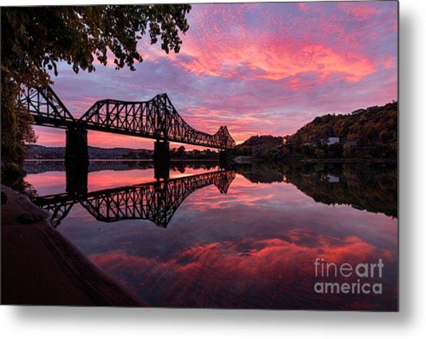 Train Bridge At Sunrise  Metal Print