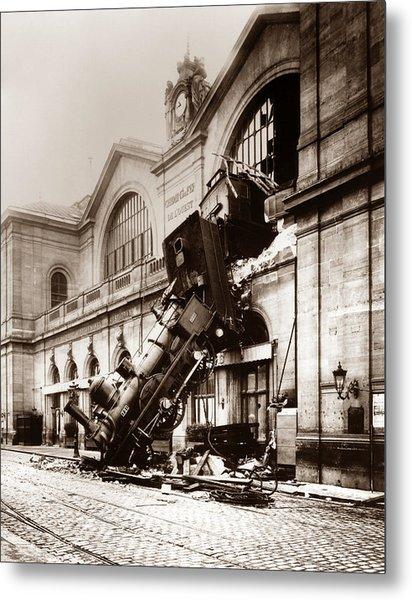 Train Derailment At Montparnasse Station - 1895 Metal Print