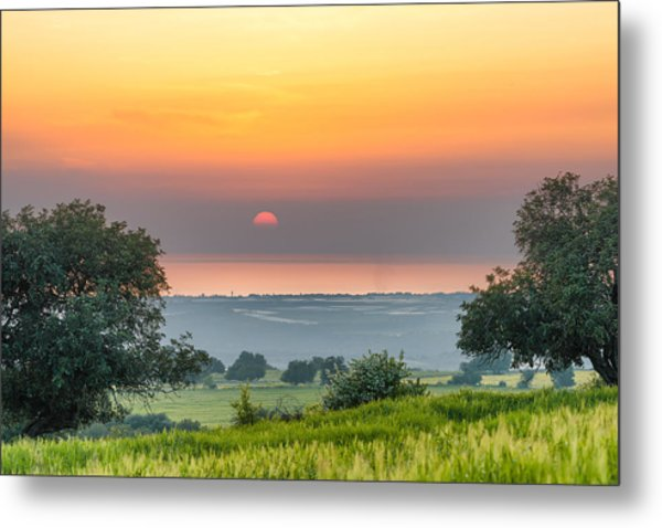 Sicilian Countryside At Sunset Metal Print