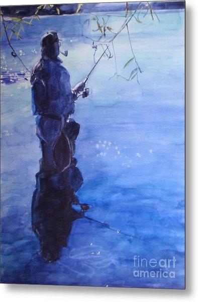 Watercolor Tranquil Fishing Metal Print