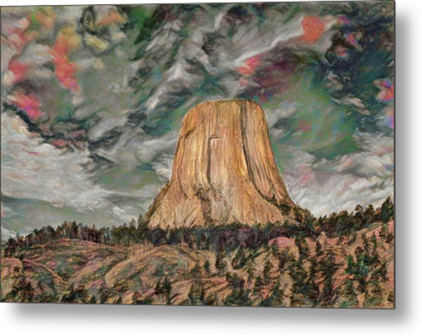 Transcendental Devils Tower Metal Print