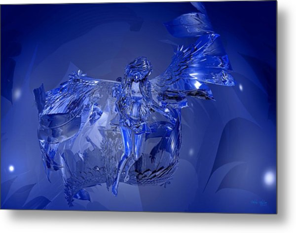 Transparent Blue Angel Metal Print