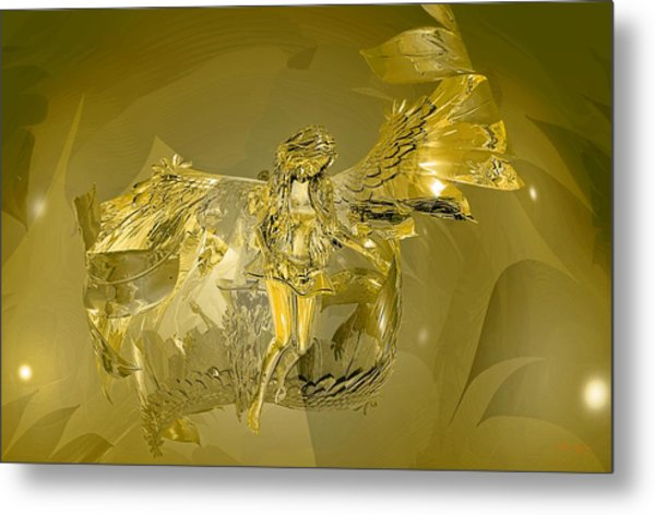 Transparent Gold Angel Metal Print