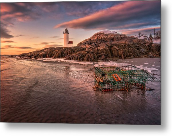 Trapped Ice At Annisquam Light Metal Print