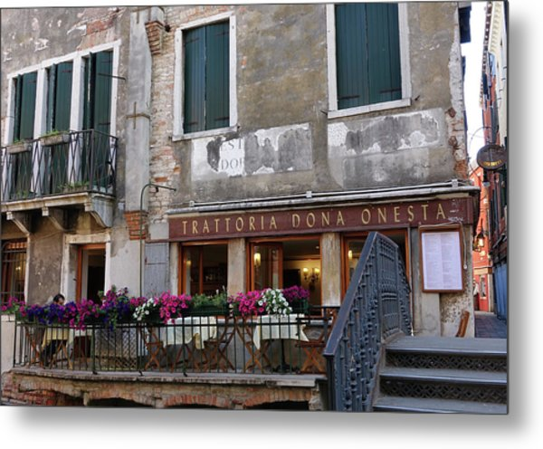 Trattoria Dona Onesta In Venice, Italy Metal Print