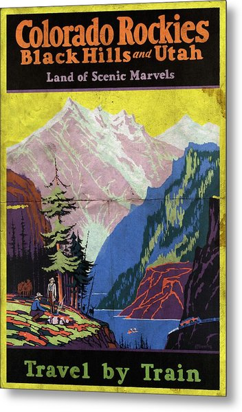 Travel By Train To Colorado Rockies - Vintage Poster Folded Metal Print