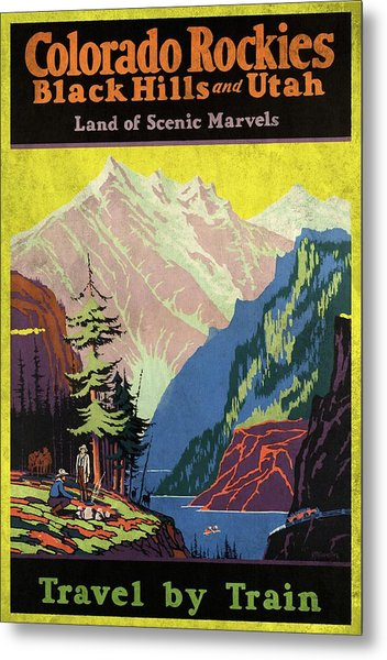 Travel By Train To Colorado Rockies - Vintage Poster Vintagelized Metal Print
