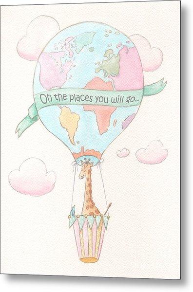 Giraffe - Travel Nursery - Hot Air Balloon Metal Print