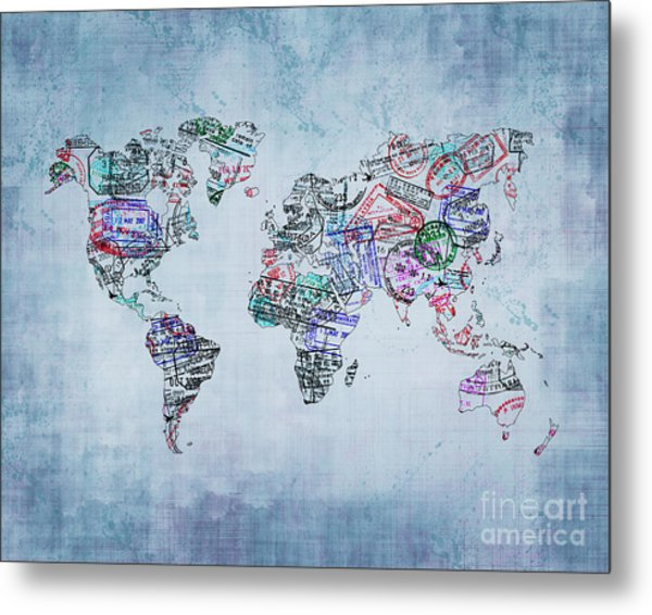 Traveler World Map Blue 8x10 Metal Print