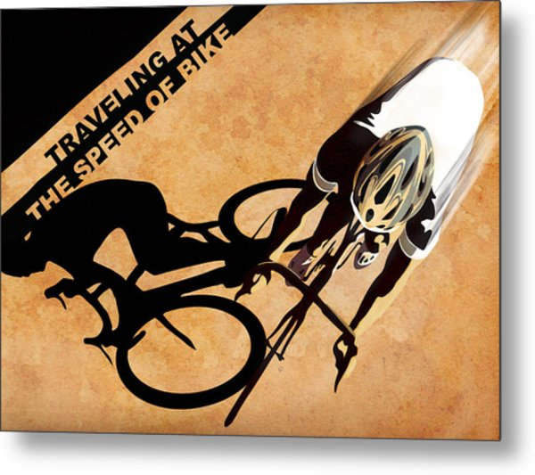 Traveling At The Speed Of Bike Metal Print