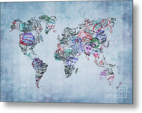 Traveler World Map Metal Print