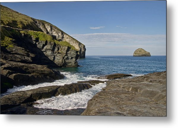 Trebarwith Strand In North East Cornwall Metal Print