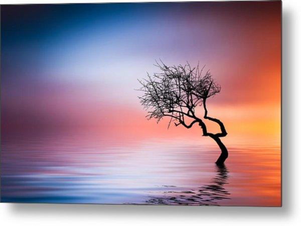 Tree At Lake Metal Print