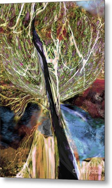 Tree Bent By Wind Metal Print