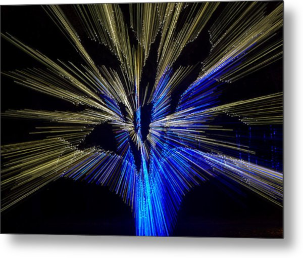 Tree Burst Of Blue And Yellow Metal Print