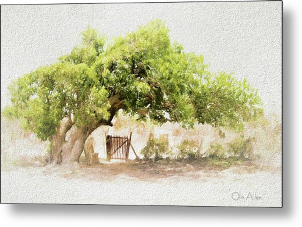 Tree By The Gate Metal Print