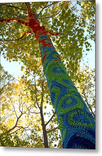Tree Crochet Metal Print