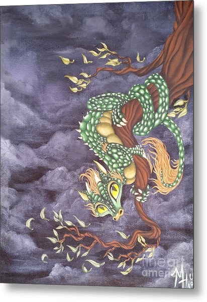 Metal Print featuring the painting Tree Dragon by Mary Hoy