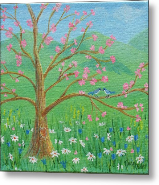 Metal Print featuring the painting Tree For Two by Nancy Nale