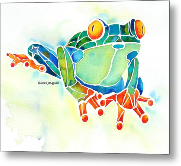 Tree Frog In Greens Metal Print by Jo Lynch