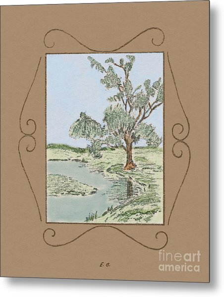 Tree Mirror In Lake Metal Print
