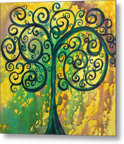 Tree Of Life - Yellow Green Metal Print