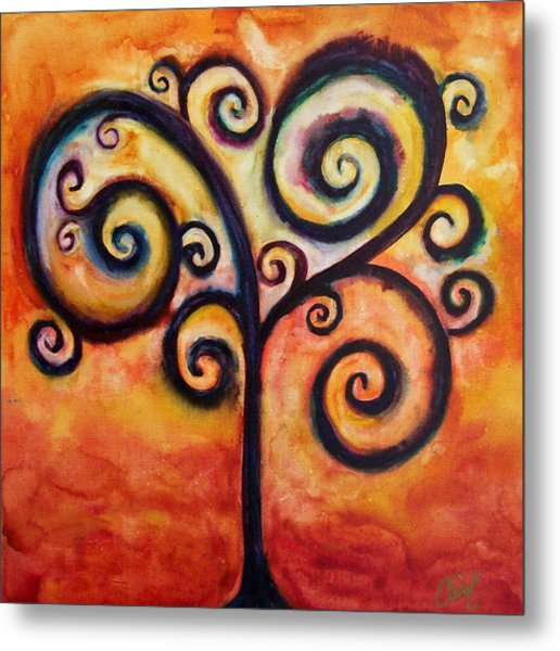 Tree Of Life Orange Metal Print by Christy Freeman Stark