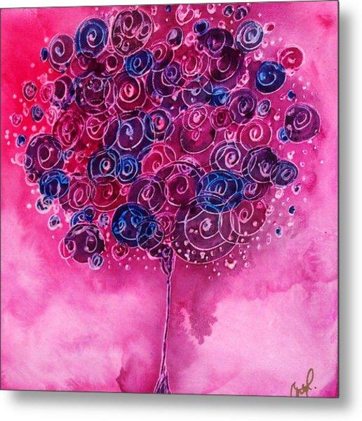 Tree Of Life Pink Swirl Metal Print