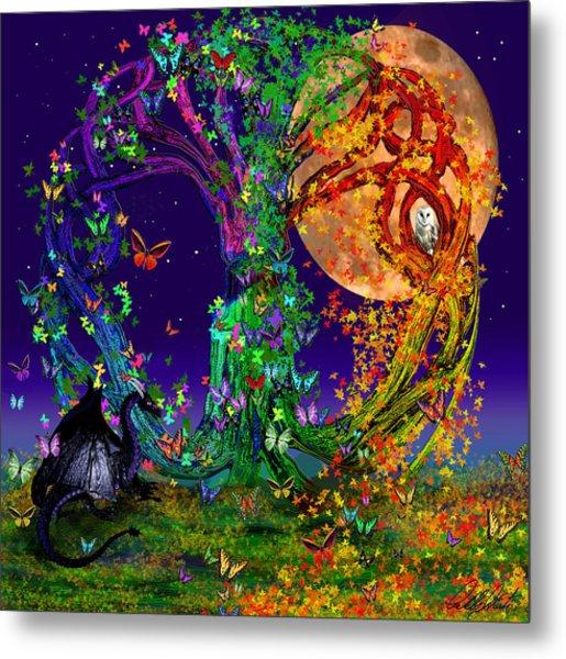 Tree Of Life With Owl And Dragon Metal Print