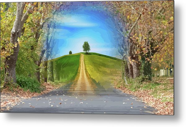 Tree On The Hill Montage Metal Print