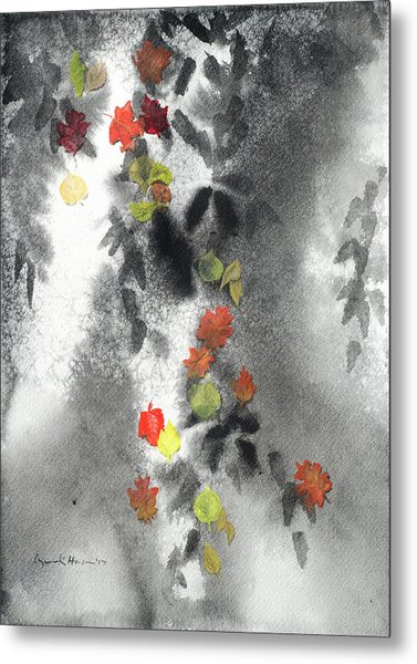Tree Shadows And Fall Leaves Metal Print