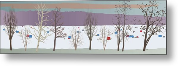 Trees And Bobhouses Metal Print by Marian Federspiel