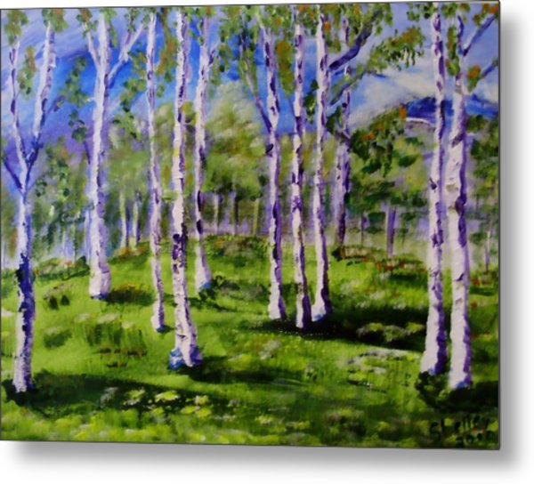 Trees In The Meadow Metal Print