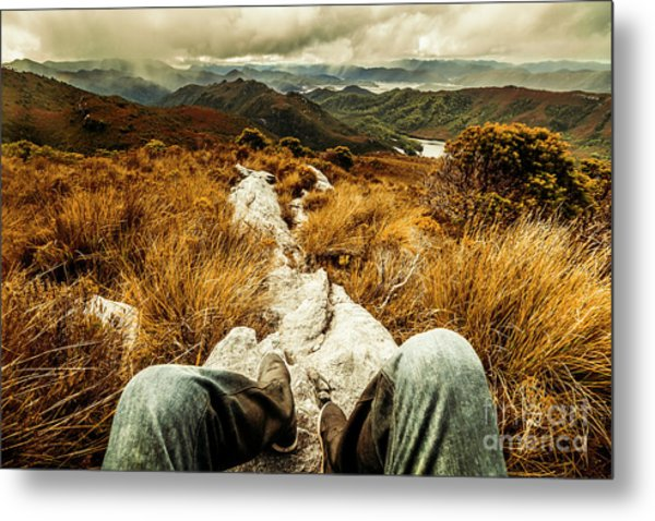 Trekking Tasmanian Mountains Metal Print