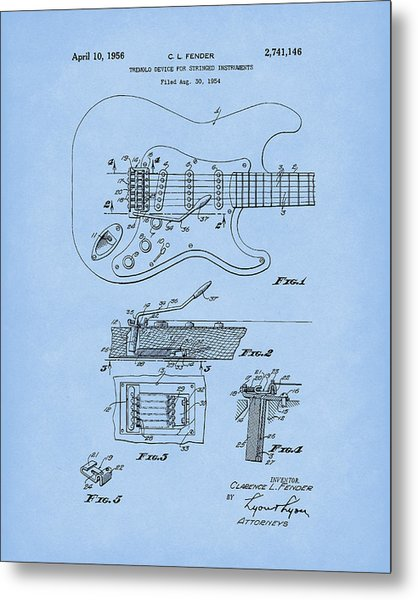 Metal Print featuring the drawing Tremolo Device 1956 Patent Art Lightblue by Prior Art Design