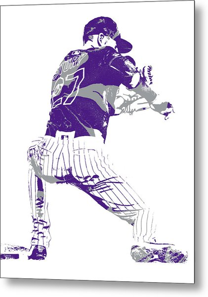 Trevor Story Colorado Rockies Pixel Art 11 Metal Print