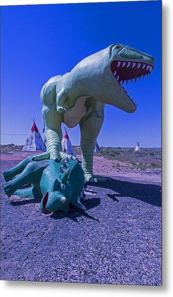 Trex And Triceratops  Metal Print