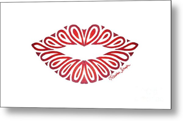 Tribal Lips Metal Print