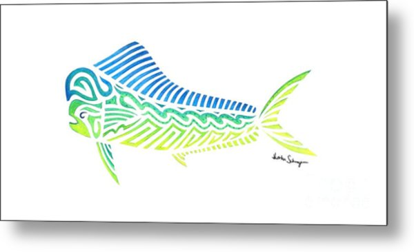 Tribal Mahi Mahi Metal Print