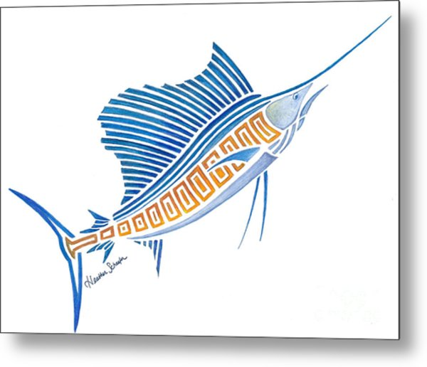 Tribal Sailfish Metal Print