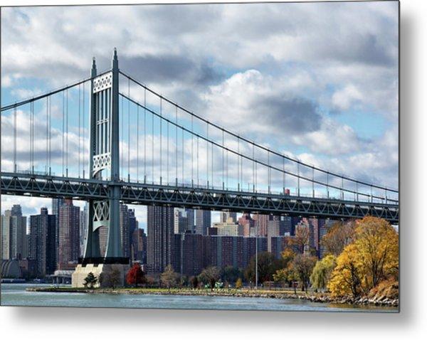 Triboro Bridge In Autumn Metal Print