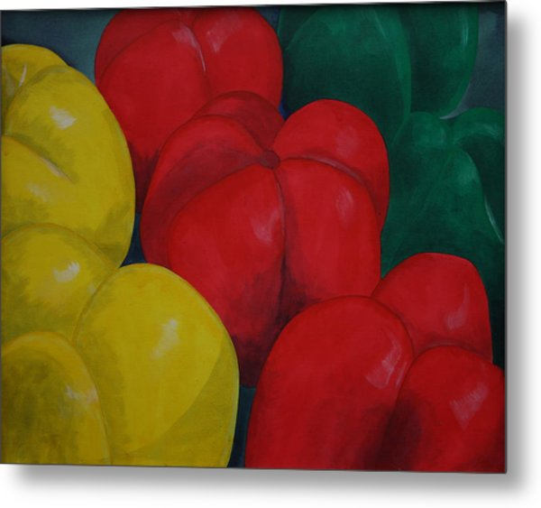 Tricolored Peppers Metal Print
