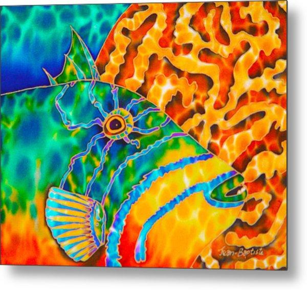 Triggerfish And Brain Coral Metal Print