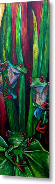 Trinity Of Tree Frogs Metal Print by Patti Schermerhorn
