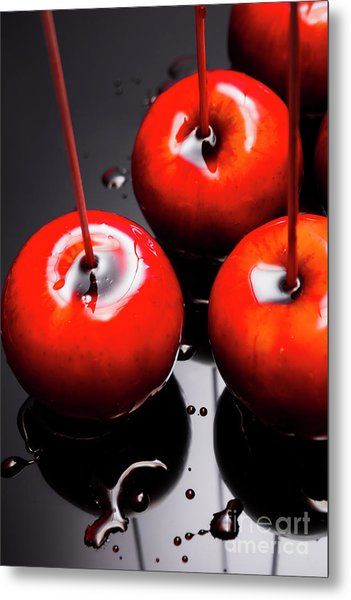 Trio Of Bright Red Home Made Candy Apples Metal Print