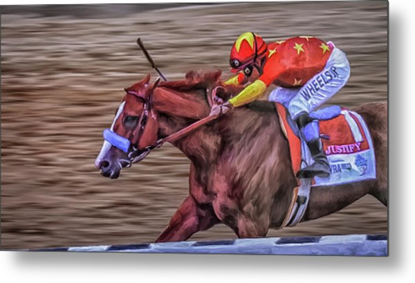Triple Crown Winner Justify Metal Print