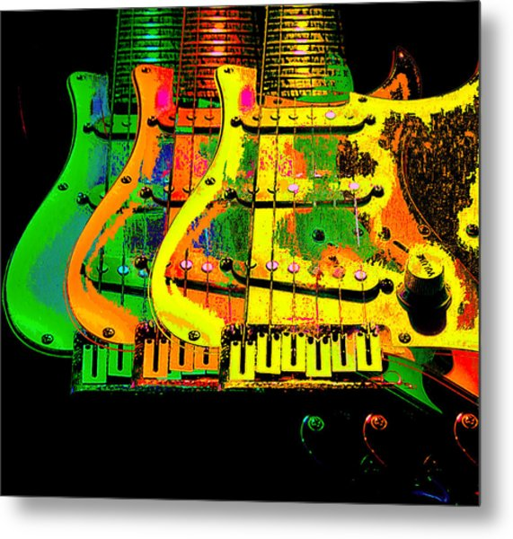 Metal Print featuring the photograph Triple Pickguards by Guitar Wacky