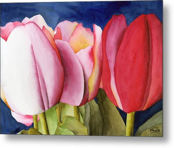 Triple Tulips Metal Print